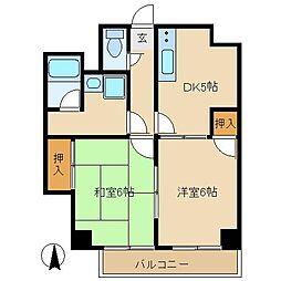 JR中央線 武蔵小金井駅 徒歩2分の賃貸マンション 7階2DKの間取り