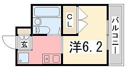 ハートピア姫路[101号室]の間取り
