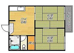 大阪府東大阪市中石切町4丁目の賃貸アパートの間取り