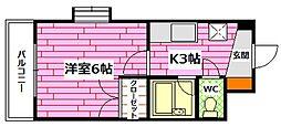 平岩ビル 1階1Kの間取り