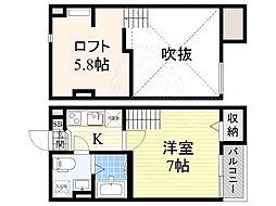 南海線 住ノ江駅 徒歩8分の賃貸アパート 2階1Kの間取り