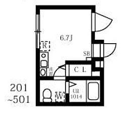 (仮称)王子一丁目マンションA棟 4階ワンルームの間取り