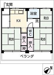 ビレッジハウス富木島 4号棟[1階]の間取り