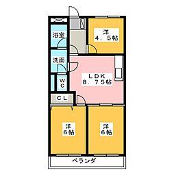ファランステールII[3階]の間取り