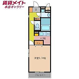 近鉄名古屋線 近鉄四日市駅 徒歩9分の賃貸マンション 4階1Kの間取り