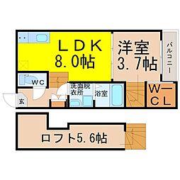 ハーモニーテラス八田(ハーモニーテラスハッタ)[1階]の間取り