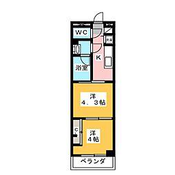 ガーラ・グランディ武蔵小杉 3階2Kの間取り