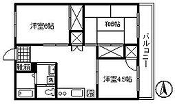 東京都府中市朝日町1丁目の賃貸マンションの間取り