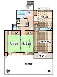 兵庫県神戸市垂水区小束山1丁目の賃貸マンションの間取り