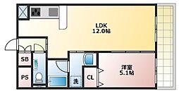 大阪府大阪市東成区大今里2丁目の賃貸マンションの間取り