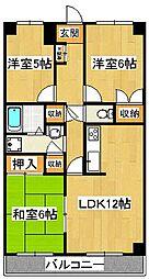 千葉県船橋市上山町2丁目の賃貸マンションの間取り