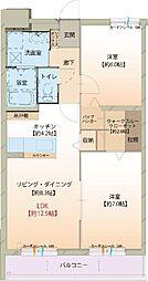 富山県富山市有沢の賃貸マンションの間取り