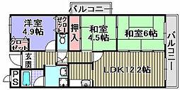 プリムローズ岸和田[501号室]の間取り