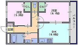 奈良県天理市櫟本町の賃貸マンションの間取り