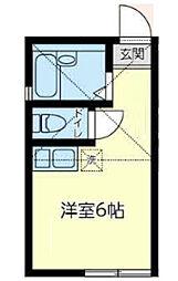 東急東横線 白楽駅 徒歩8分の賃貸アパート 1階ワンルームの間取り