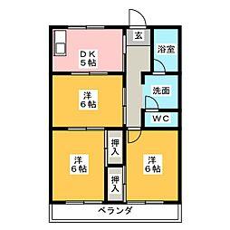 サンハイツ中平2[4階]の間取り