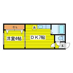 北海道札幌市東区北十五条東12丁目の賃貸アパートの間取り