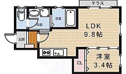 ラシーネ小野原西 1階1LDKの間取り