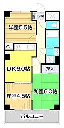 埼玉県朝霞市根岸台1丁目の賃貸マンションの間取り