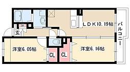 愛知県日進市米野木台5丁目の賃貸マンションの間取り