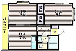 東京都調布市東つつじケ丘3の賃貸アパートの間取り