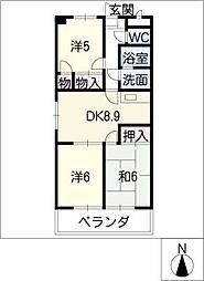ファミール西浜田北館[3階]の間取り
