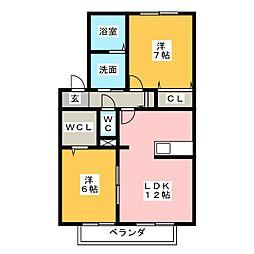 ブラン・ブルー D[1階]の間取り