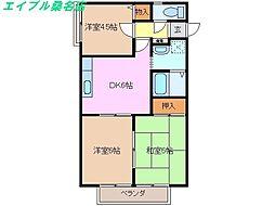 三重県桑名市東正和台2丁目の賃貸アパートの間取り