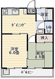 マンション紺利[203号室]の間取り