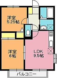 埼玉県上尾市富士見1丁目の賃貸アパートの間取り