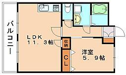 サンライフ花瀬II[1階]の間取り