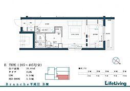 Branche平尾III east 3階1LDKの間取り