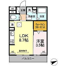 愛知県岡崎市門前町の賃貸アパートの間取り