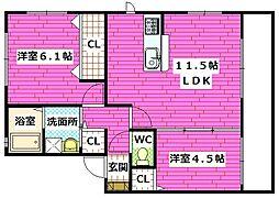 広島県安芸郡熊野町出来庭7丁目の賃貸アパートの間取り