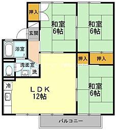 岡山県岡山市中区清水2丁目の賃貸アパートの間取り