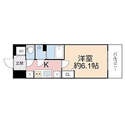 プレサンス THE TENNOJI 逢阪トゥルー 2階1Kの間取り