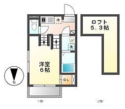 ウェスコート草薙[1階]の間取り