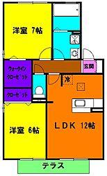 静岡県浜松市南区参野町の賃貸アパートの間取り