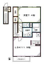 西武新宿線 新井薬師前駅 徒歩7分の賃貸アパート 2階1LDKの間取り