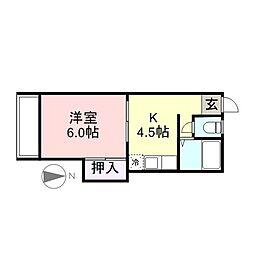 コーポ丸福[3階]の間取り