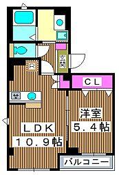 メルシーペール 4階1LDKの間取り