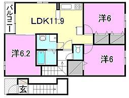 メゾン・ド・MK[D201 号室号室]の間取り