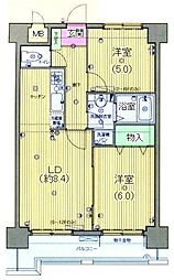 東急大井町線 大井町駅 徒歩4分の賃貸マンション 8階2LDKの間取り