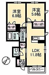 コン・アモーレ夢咲Ⅱ[105号室]の間取り