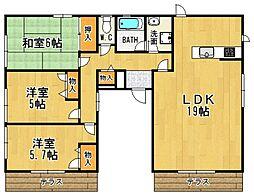 兵庫県宝塚市仁川高台1丁目の賃貸アパートの間取り