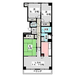 仙台八木山スカイマンション[6階]の間取り