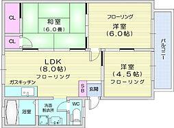 ベルゾーネ木町A棟 1階3LDKの間取り