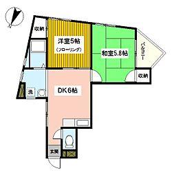 神奈川県横浜市西区浅間町1丁目の賃貸マンションの間取り