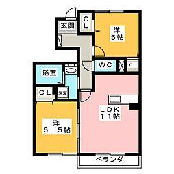 ハイツリリーベルIII[1階]の間取り