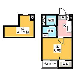 愛知県名古屋市瑞穂区平郷町4丁目の賃貸アパートの間取り